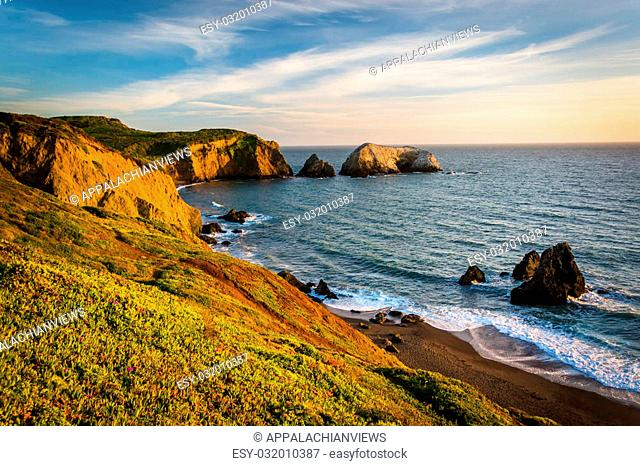 Evening view of Rodeo Beach, at Golden Gate National Recreation Area, in San Francisco, California