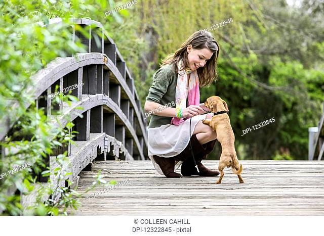 A young woman on a wooden bridge with her small dog; Washington, United States of America
