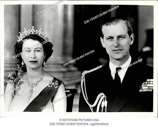 Jan. 26, 1954 - New Royal Command Portrait By Baron Of H.M. Queen Elizabeth And The Duke Of Edinburgh: H.M. The Queen wearing a yellow tulle evening gown...