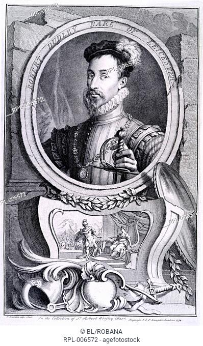 Robert Dudley Earl of Leicester  1533 - 1588 . English nobleman. Portrait. Image taken from The heads and characters of illustrious persons of Great Britain...