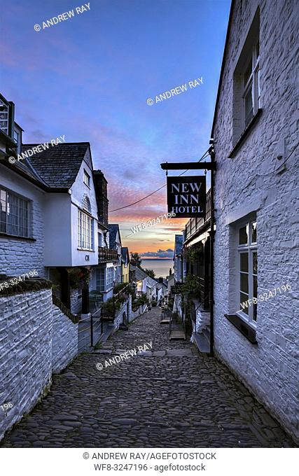 The main street at Clovelly on the North Coast of Devon captured at sunrise in early July
