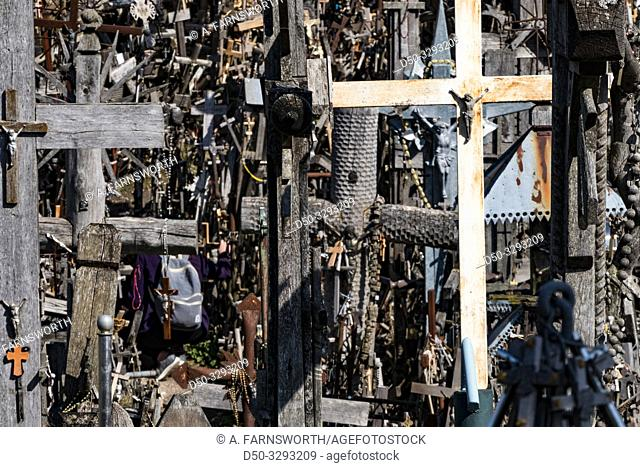 Siauliai, Lithuania Crosses and crucifixes at the Hill of Crosses, or, KryžiŠ³ kalnas, a pilgrimage site for Catholics and is a collection of 100,000 crosses