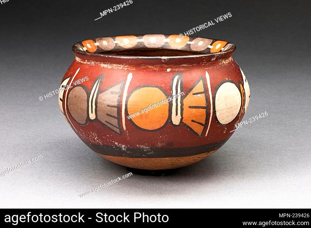 Bowl with a Horizontal Band of Repeated Abstract Motifs - 180 B.C./A.D. 500 - Nazca South coast, Peru - Artist: Nazca, Origin: Nazca Valley, Date: 180 BC–500 AD