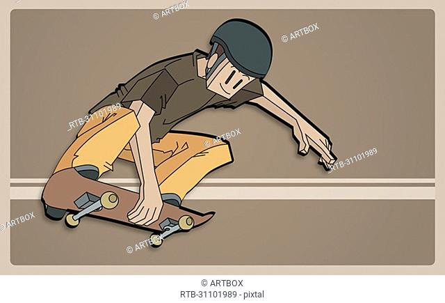 Low angle view of a man skateboarding