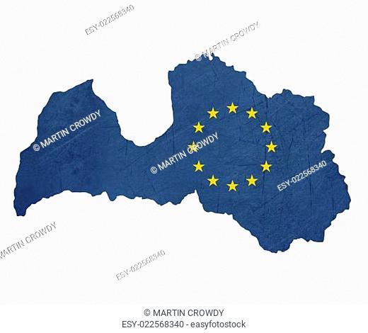 European flag map of Latvia
