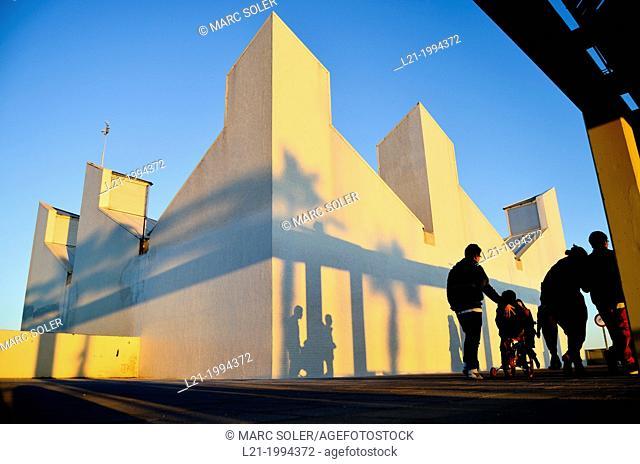 White buildings. Moll de Gregal, Port Olímpic, Barcelona, Catalonia, Spain