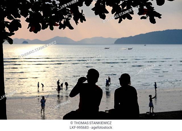 Evening view over Ao Nang Beach, Krabi, Andaman Sea, Thailand, Asia