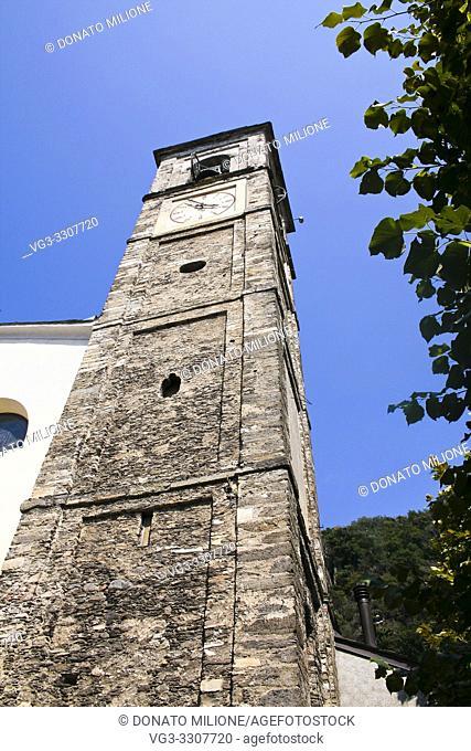 Dervio, Province of Lecco, region Lombardy, eastern shore of Lake of Como, Italy. The village of Corenno Plino, church of San Tommaso di Canterbury (St