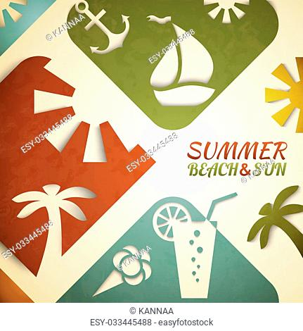 Abstract summer illustration. Retro beach and sun concept design. Green, blue and red colors. Hot tropical recreation poster