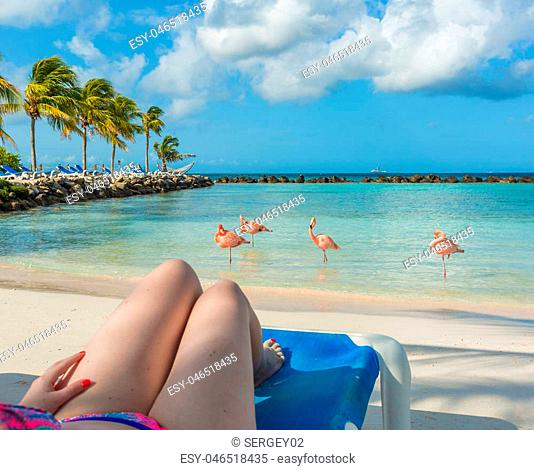 Young woman resting at Flamingo beach. Aruba island