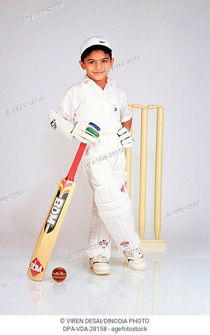 little boy cricketer