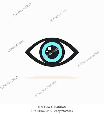 Blue eye icon with shade on a white background. Vector illustration