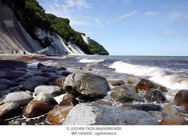 Cliffs, chalk coast, Baltic Sea coast on the Jasmund peninsula, Nationalpark Jasmund national park, northeast of the Ruegen island