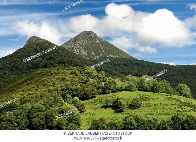 The mountains Puy Griou and Monts du Cantal, Département Cantal, Auvergne region, France, Europe