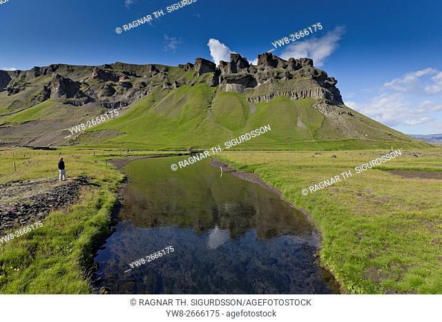 Summer landscape, Fossalar river, Mt. Thverarfjall, Iceland