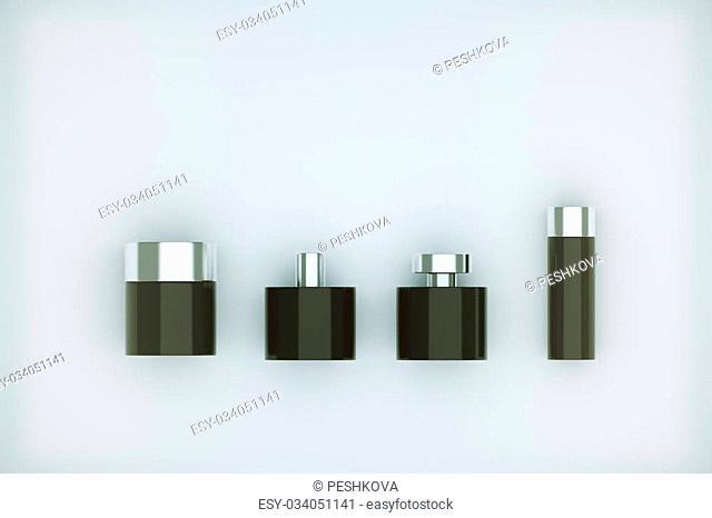 Black perfume bottles isolated on light background. Mock up, 3D Rendering