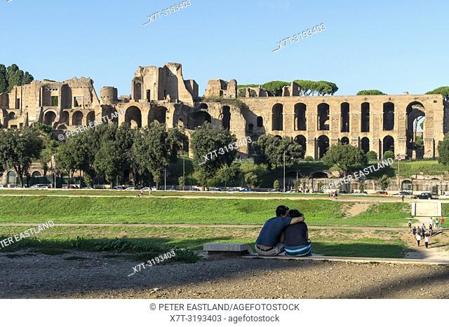 Looking across to The ruins of Domus Augustana, part of the Palace of Domitian, on the Palatine hill; seen from Circo Massimo