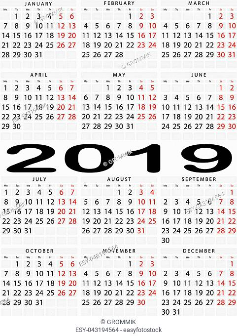 Vertical calendar for 2019 year. Output is highlighted in red