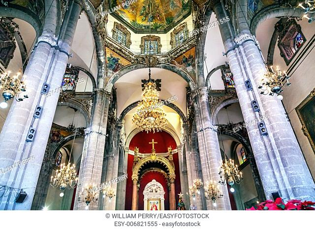 Old Basilica Shrine of Guadalupe Dome Chandelier Christmas Day Mosaics Mexico City Mexico. Also known as Templo Expiatorio a Cristo Rey