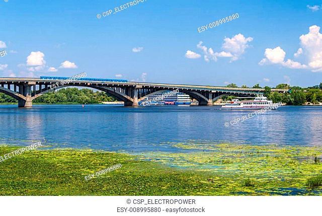 View of Metro Bridge over Dnieper in Kyiv, Ukraine