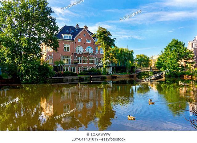 AMSTERDAM - AUGUST 26: Luxury real estate in Amsterdam, near the Vondel Park at daytime on August 26, 2014 in Amsterdam