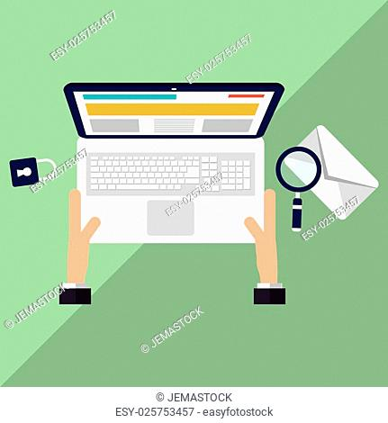 Laptop concept with icon design, vector illustration 10 eps graphic
