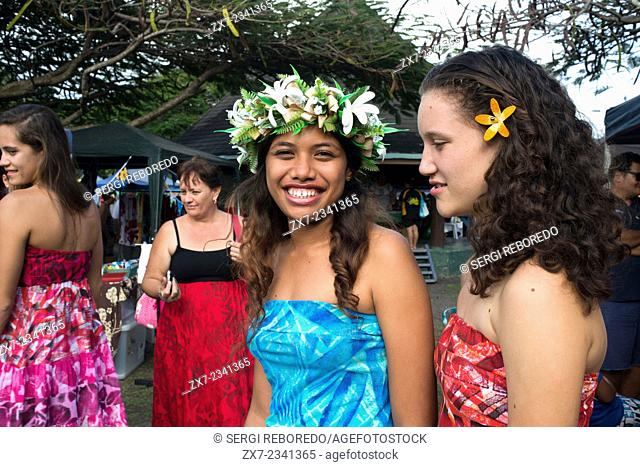 Rarotonga Island. Cook Island. Polynesia. Some nice teenagers dressed in Polynesian around the Punanga Nui Markets. Cook Island market day is every Saturday...