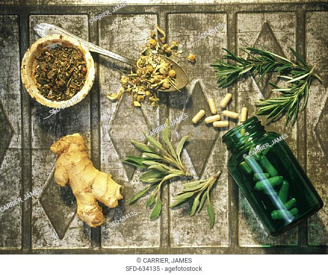 Still Life of Herbs and Teas with Ginkgo Biloba Capsules