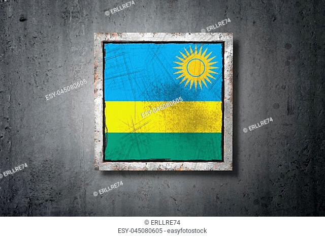3d rendering of an old Republic of Rwanda flag in a concrete wall