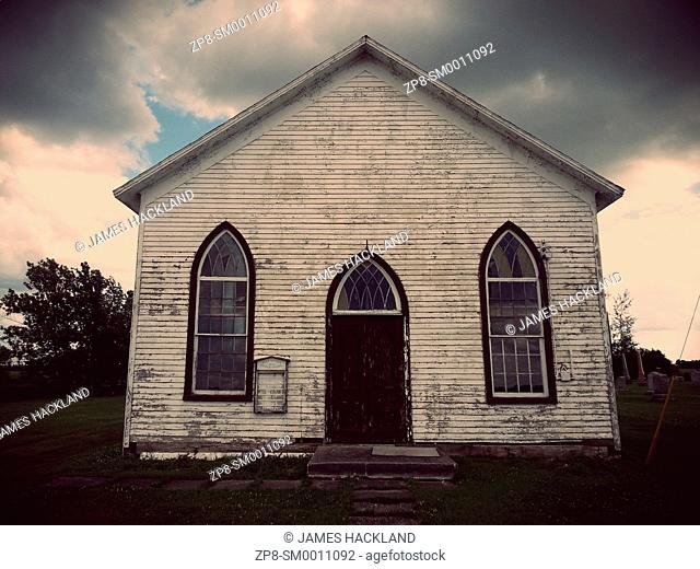 An old abandoned church and graveyard in Canfield, Ontario, Canada