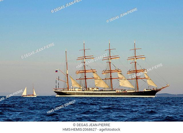 France, Herault, Sete, Sedov, ship Russian school, bigger sailboat four masts to the world with 117 meters long