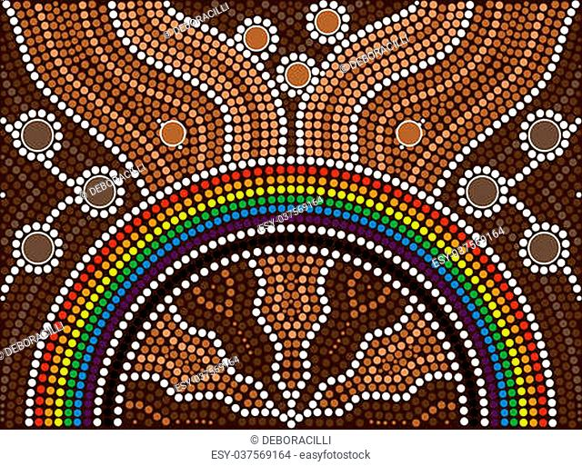A illustration based on aboriginal style of dot painting depicting rainbow