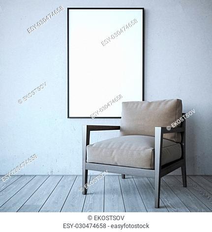 Blank white frame with chair in the bright interior. 3d rendering