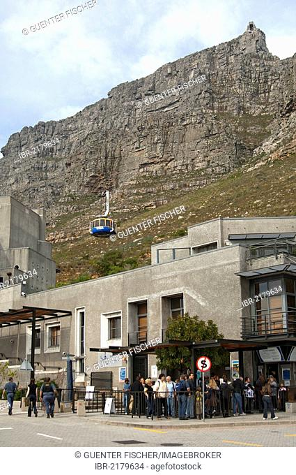 Tourists standing at the valley station of the Table Mountain cable car ticket office, Cape Town, South Africa, Africa