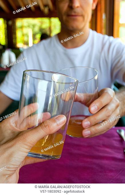 Couple drinking a toast with cider. Close view