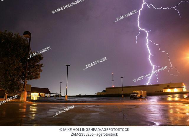 Light strikes close to the photographer in Blair Nebraska