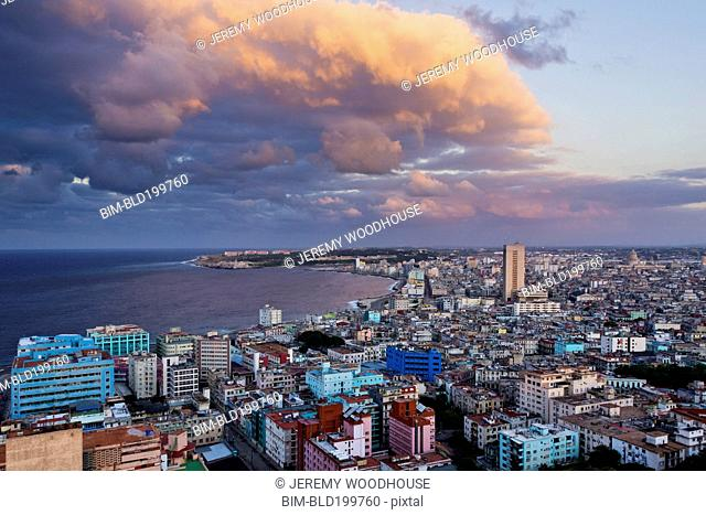 Rooftops of city near ocean