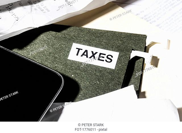 Close up taxes file and finance paperwork