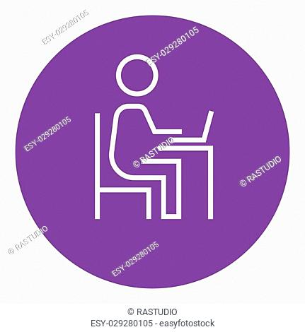 Businessman working at his laptop thick line icon with pointed corners and edges for web, mobile and infographics. Vector isolated icon