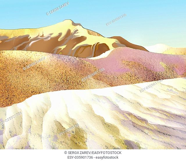 Digital Painting, Illustration of a Colorful Sand dunes in the desert in a hot summer day. Cartoon Style Character, Fairy Tale Story Background