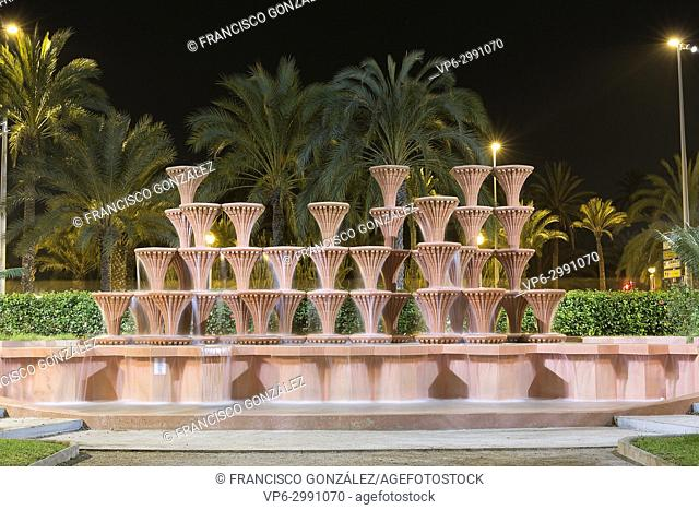 Fountain of the Glorieta in the Municipal Park of Elche. Horizontal Shot at night