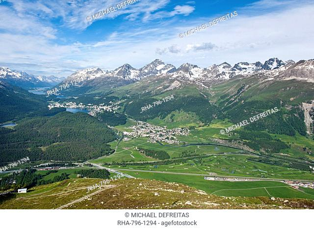 View of Celerina and St. Moritz from top of Muottas Muragl, Switzerland, Europe