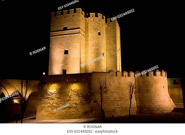 Calahorra Tower fortification illuminated at night in Cordoba, Spain, Andalusia region