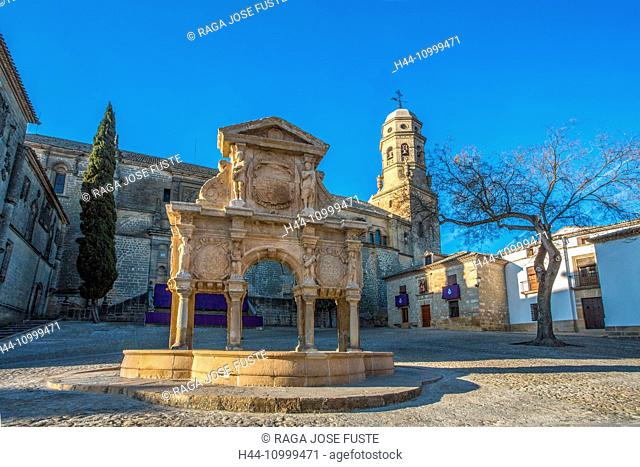 Spain, Jaen province, Baeza City, world heritage, Santa Maria Fountain, Baeza Cathedral