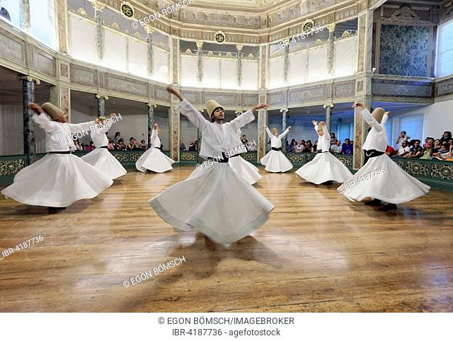Whirling Dervishes, dervish Sema dance, Mevlevihanesi Müzesi, Istiklal Caddesi, Istanbul, European side, Turkey