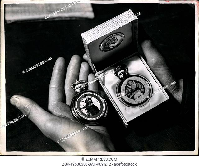 Mar. 03, 1953 - The World's First 'Coronation Watches'.. Queen Elizabeth II - On The Dial.. What are believed to be the first Coronation Watches of the type -...