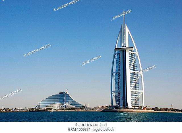Burj Al Arab and Jumeirah Beach Hotel in Dubai, UAE