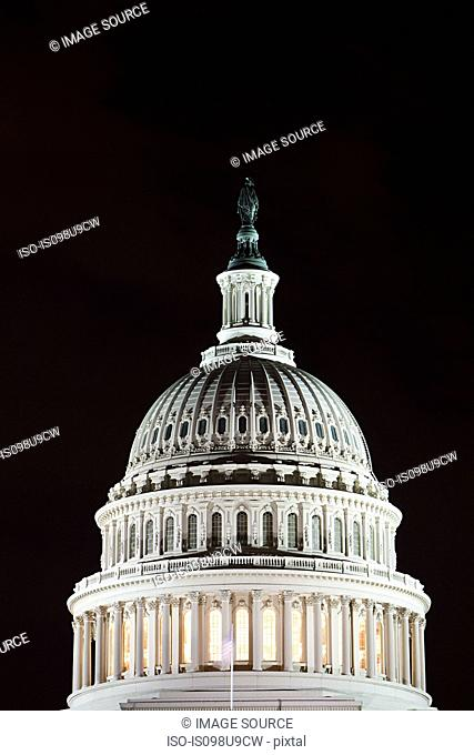 United states capitol at night, Washington DC, USA