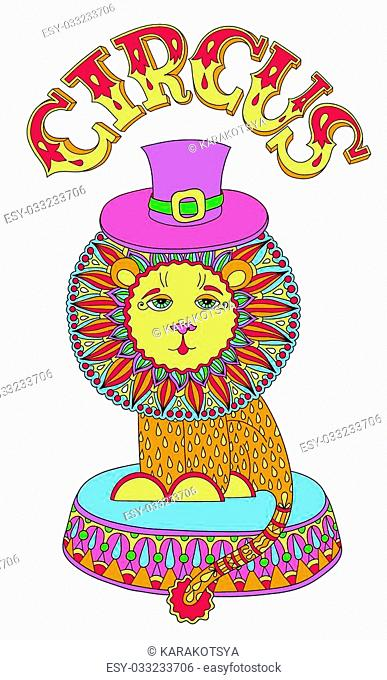 decorative colored line art drawing of circus theme - lion in a hat with inscription CIRCUS
