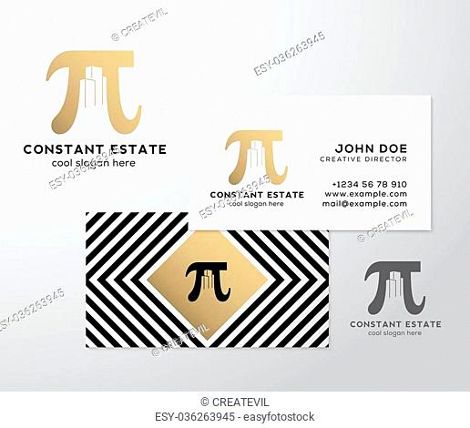 Constant Estate Abstract Vector Premium Business Card Template. Pi Sign with Negative Space Buildings as a Logo. Geometry Background and Gold Foil